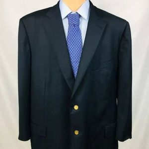 Ermenegildo Zegna 54R Navy Gold Button Blazer Wool